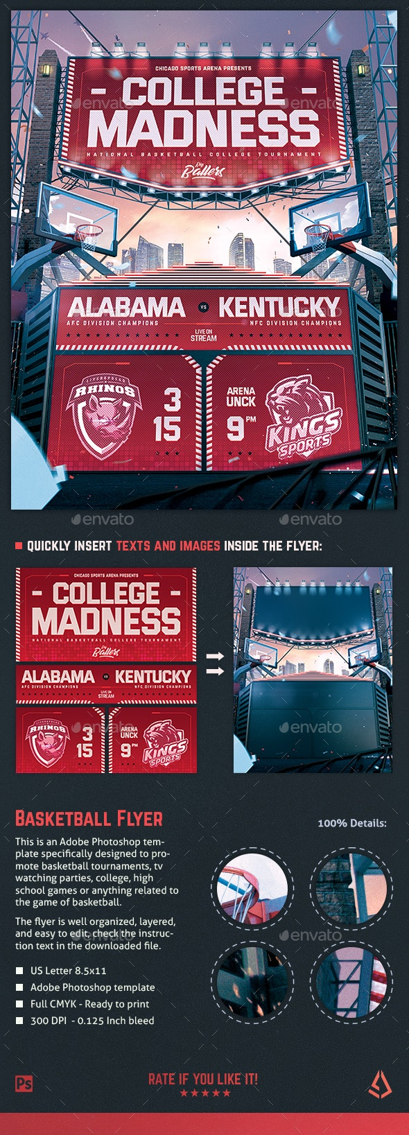 Basketball Madness Flyer College Hoops Template - Sports Events