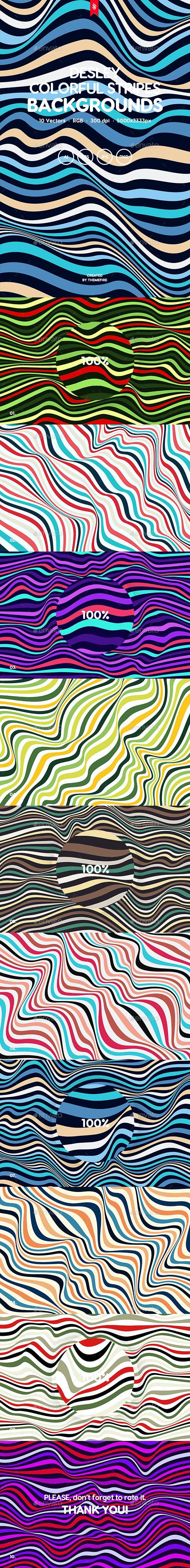 Desley - Colorful Striped Waves Vector Background Set - Backgrounds Graphics