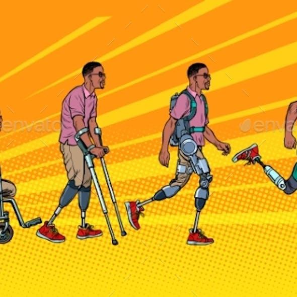 Evolution of Rehabilitation. African Man Leg