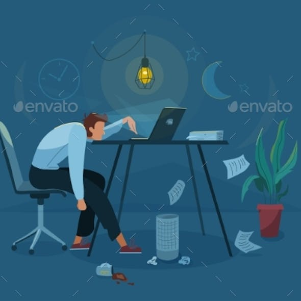 Burnout Concept Vector Background Tired Man