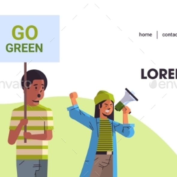 Environmental Activists Holding Poster Go Green