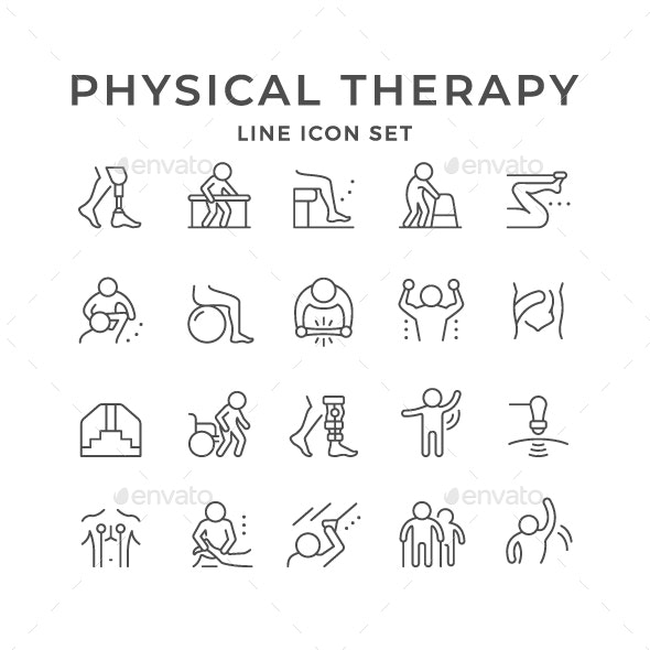 Set Line Icons of Physical Therapy - Man-made objects Objects