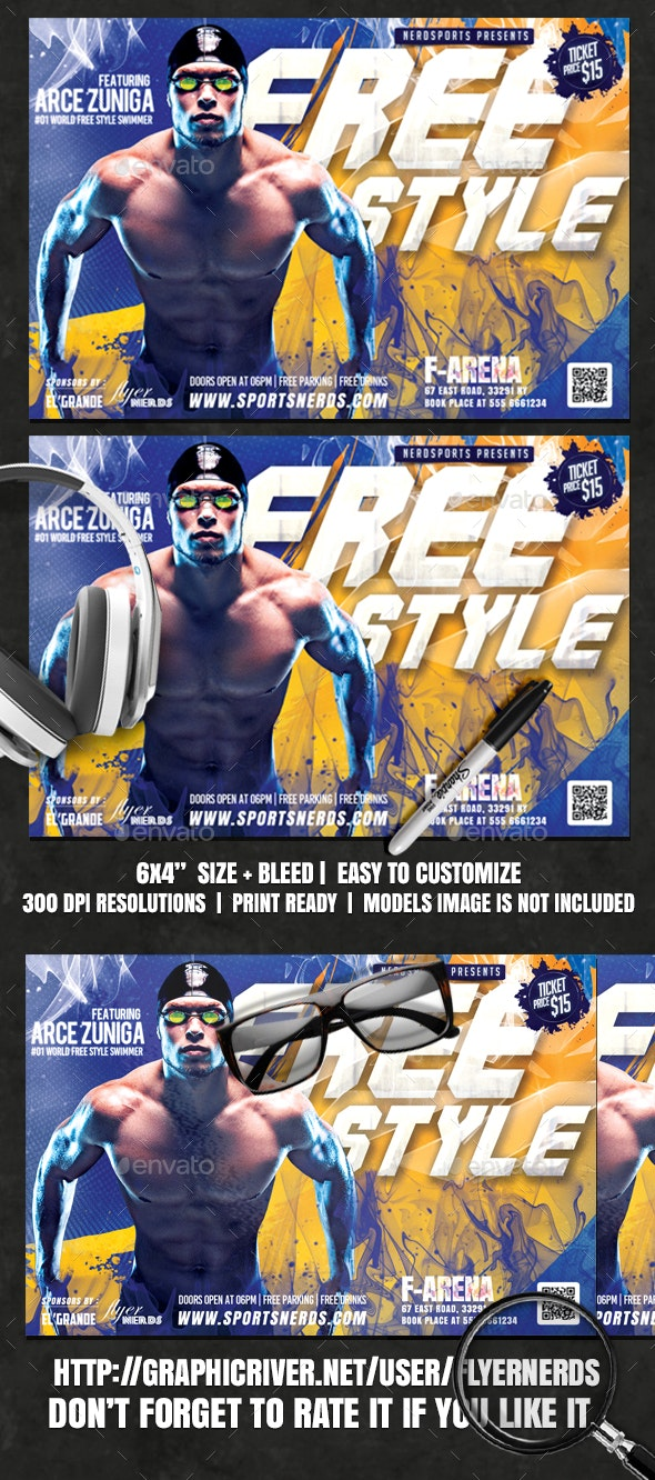 Freestyle Swimming Sports Flyer - Sports Events