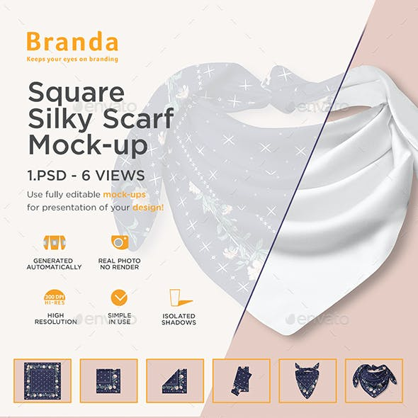Square Silky Scarf Mock-up