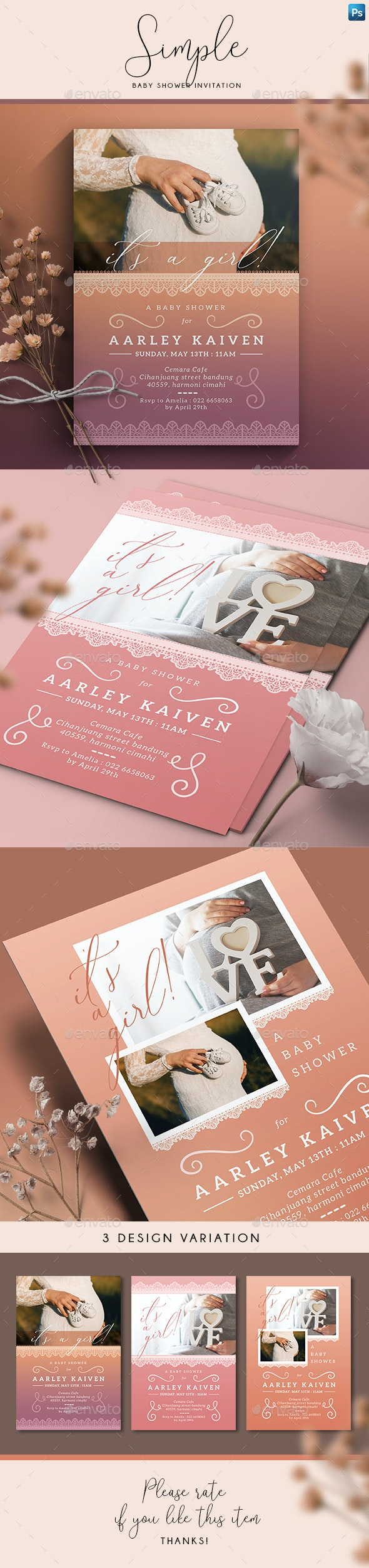 Simple Baby Shower Invitation - Family Cards & Invites