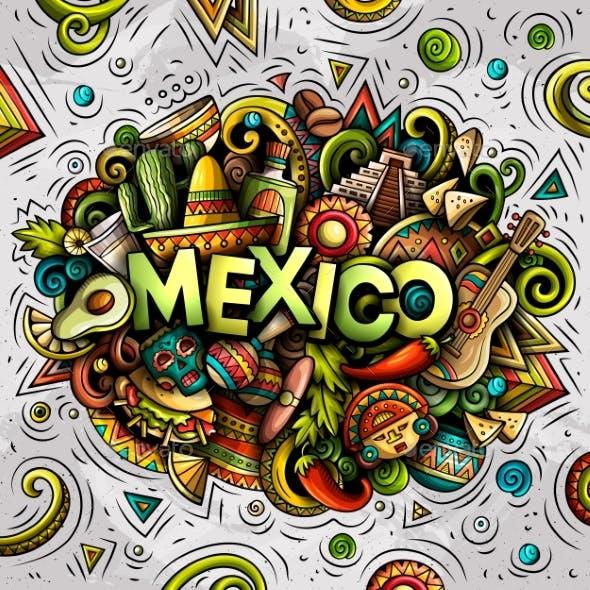 Mexico Hand Drawn Cartoon Doodles Illustration