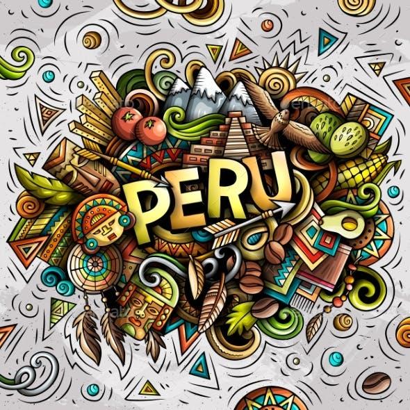 Peru Hand Drawn Cartoon Doodles Illustration