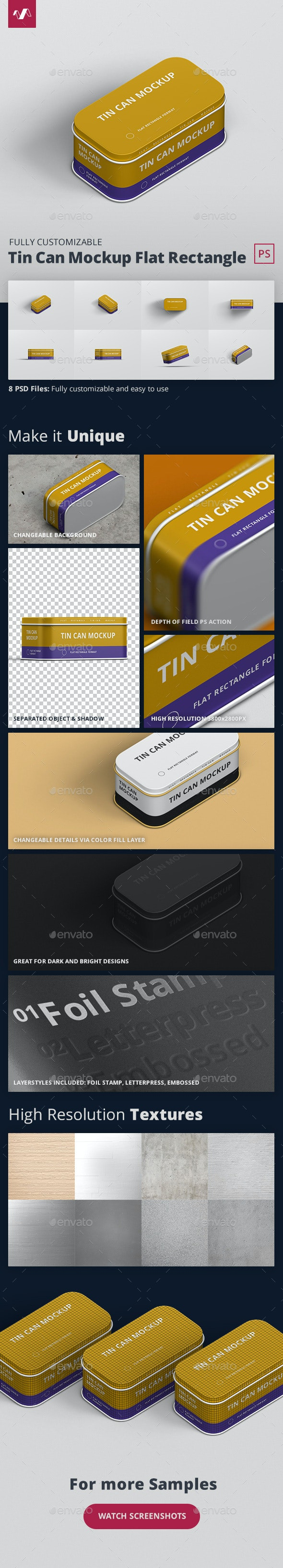 Tin Can Mockup Flat Rectangle - Miscellaneous Packaging