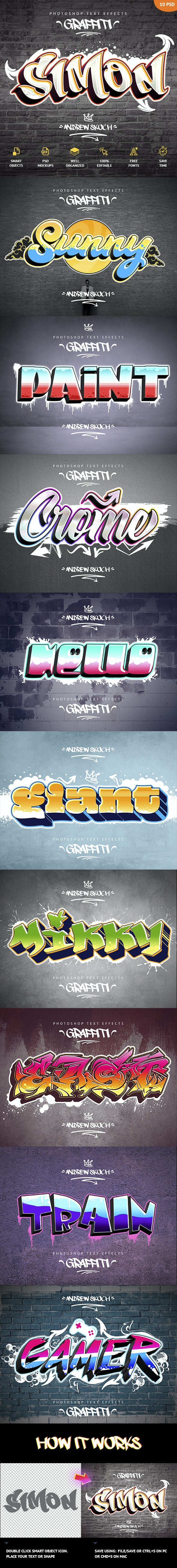 Graffiti Text Effects - 10 PSD - vol 1 - Text Effects Actions