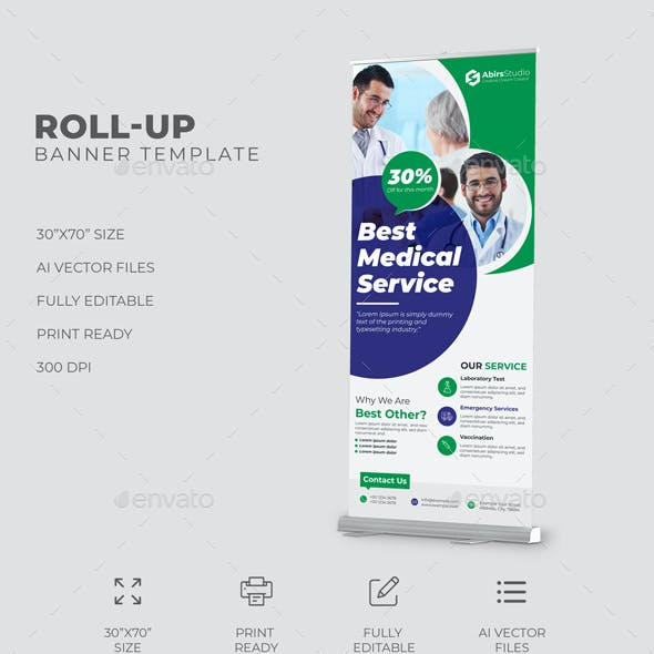 Medical Roll Up Banner Template