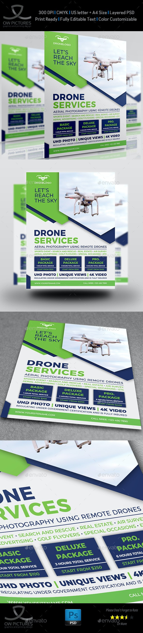 Drone Services Flyer Template - Flyers Print Templates
