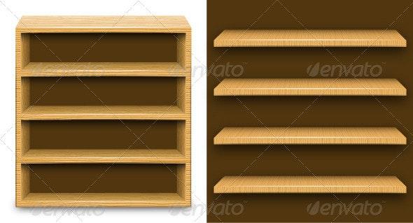 Wood shelves - Objects Vectors