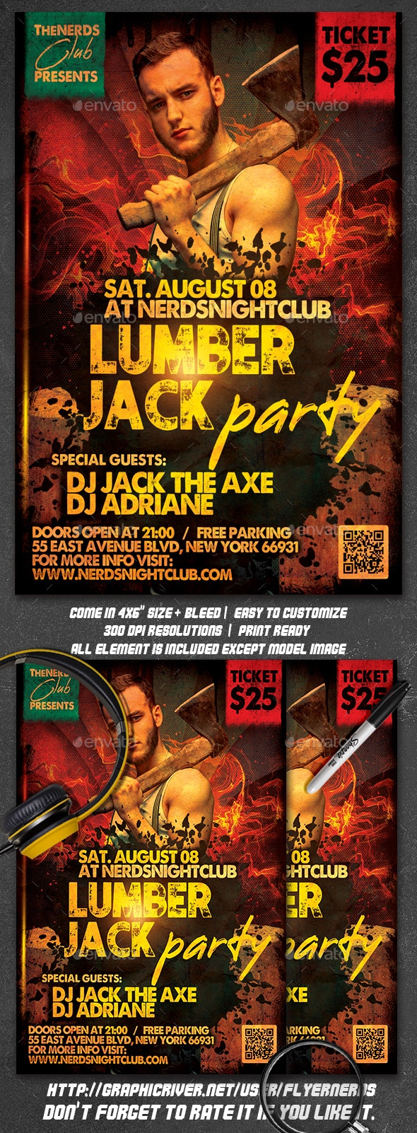 LumberJack Party Flyer - Clubs & Parties Events