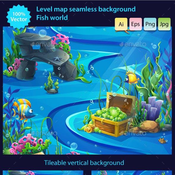 Vector Seamless Illustration Underwater Map