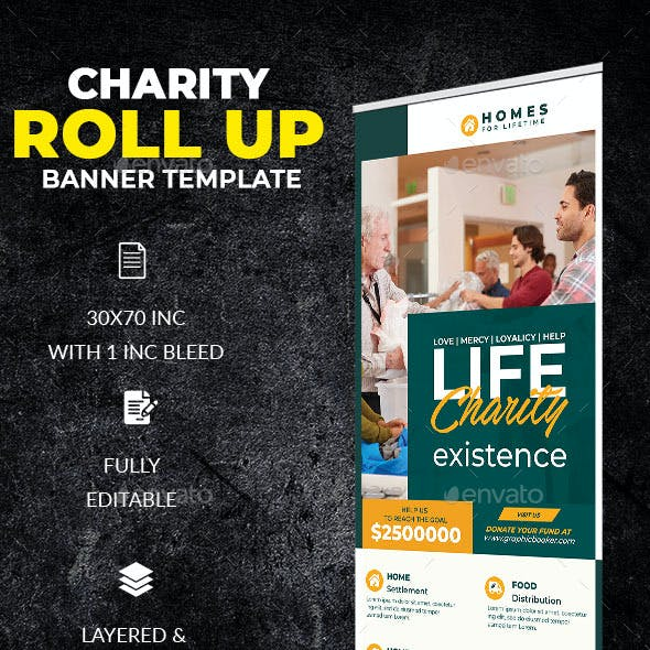 Charity Roll Up Banner Template