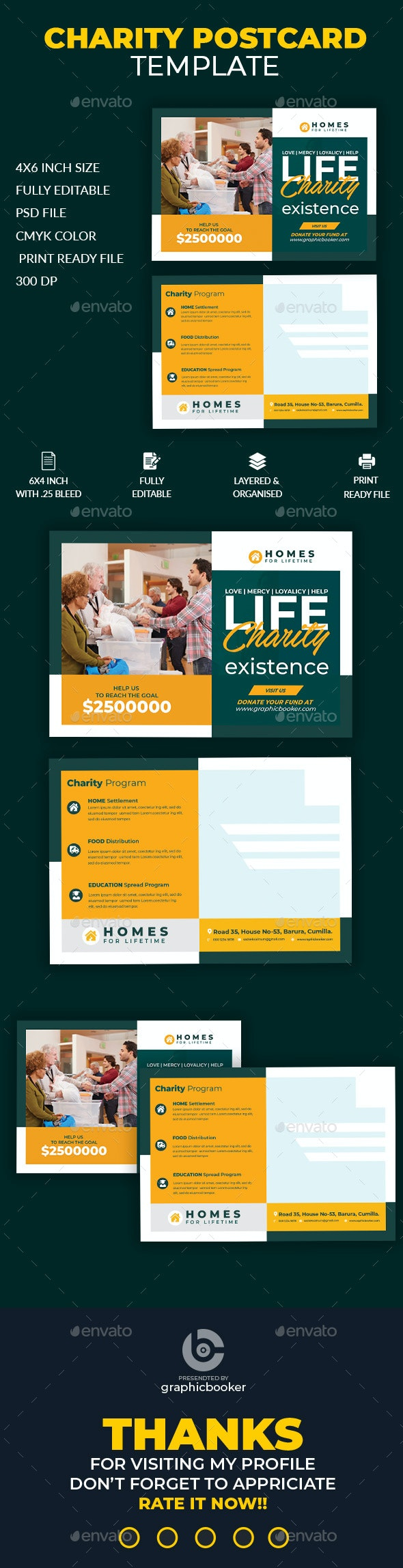 Charity Postcard Template - Cards & Invites Print Templates