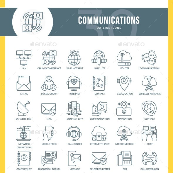 Communication Outline Icons