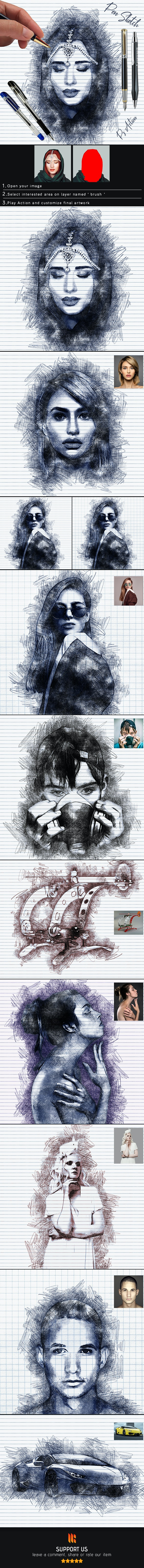 Pen Sketch Photoshop Action - Photo Effects Actions