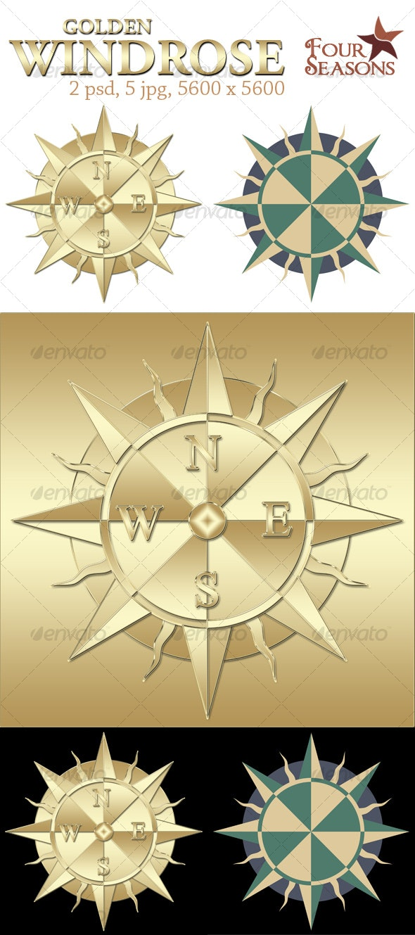 Golden windrose - Objects Illustrations