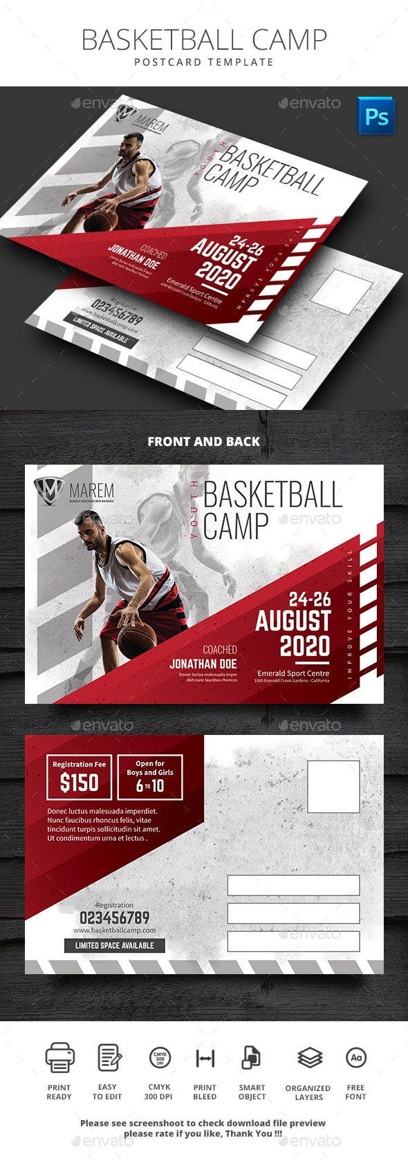 Basketball Camp Postcard - Cards & Invites Print Templates