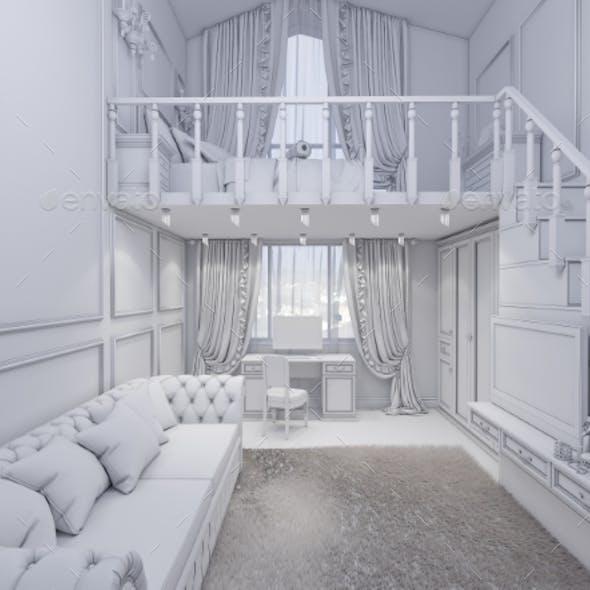 3d Render of Interior Design of a Girls Bedroom