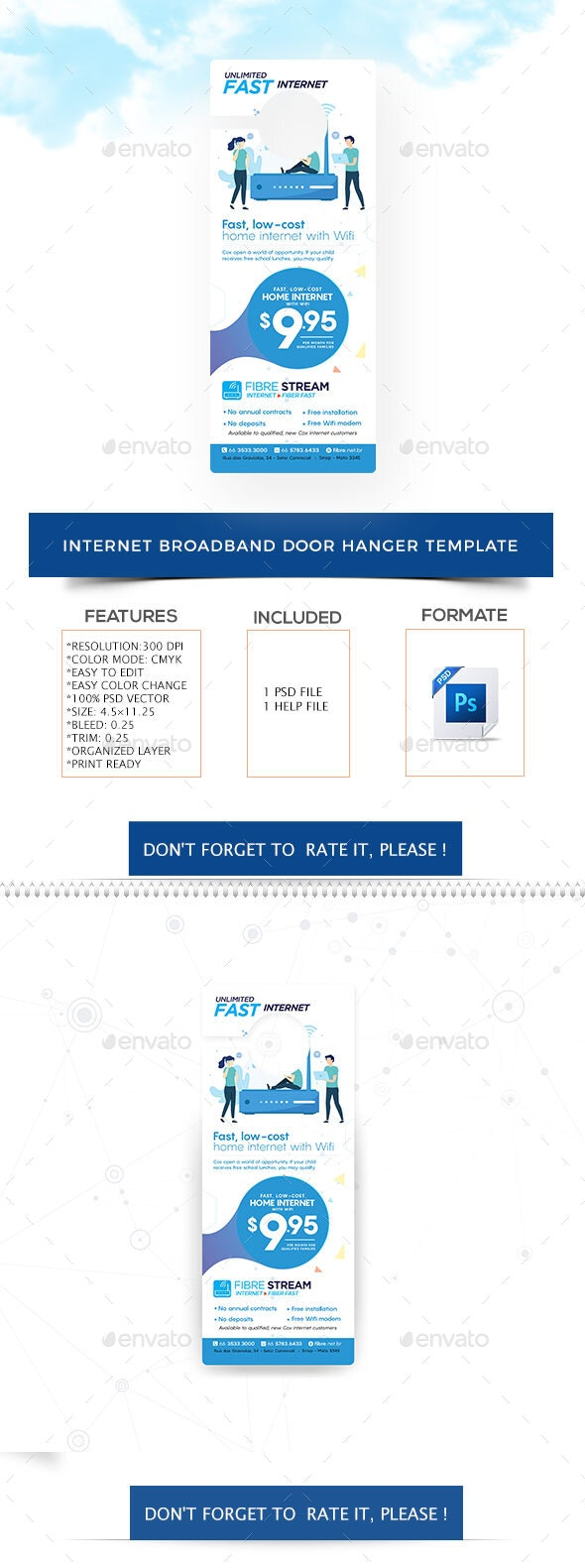 Internet Broadband Promotion Door Hanger Template - Miscellaneous Print Templates