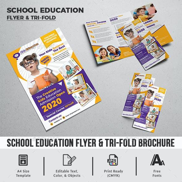 School Education Flyer & Trifold A4 Brochure