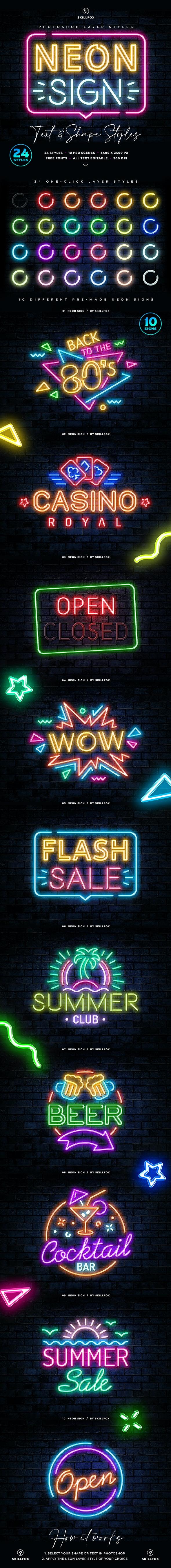 Neon Sign Photoshop Styles