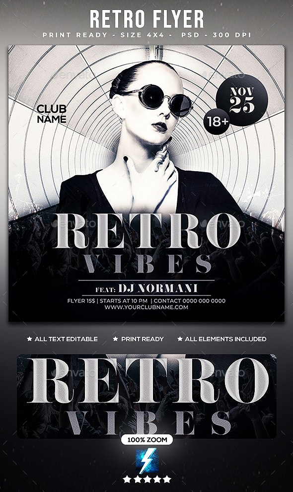 Retro Flyer - Clubs & Parties Events