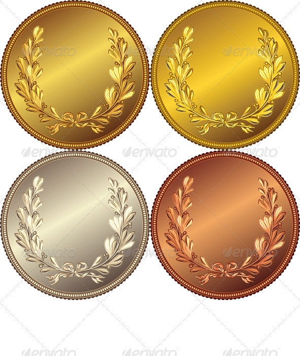 Set of the Gold, Silver and Bronze Coins - Man-made Objects Objects