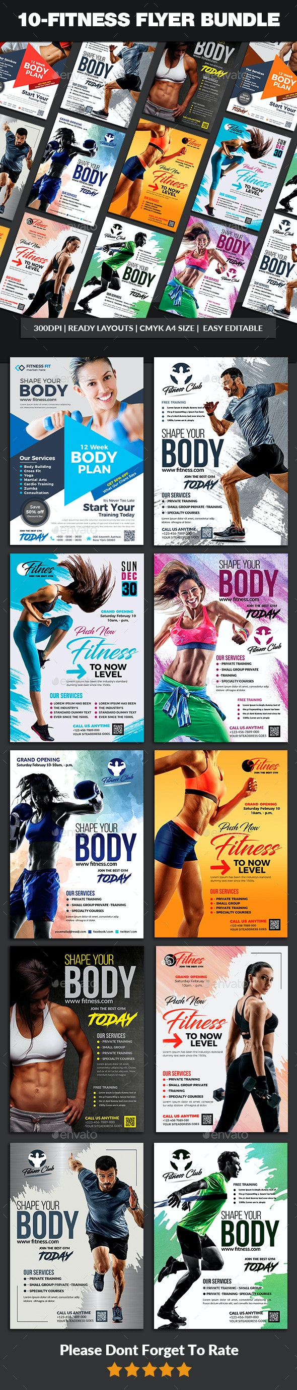 10 Fitness Flyers Bundle Templates - Sports Events