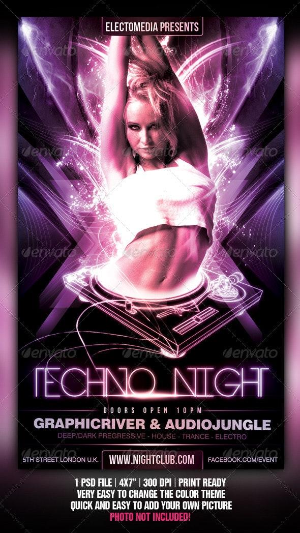 Techno Party Flyer - Flyers Print Templates