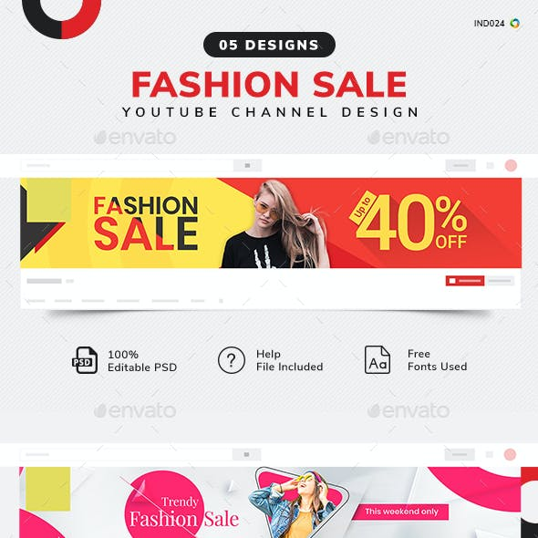 Fashion Sale Youtube Cover Template Set - 5 Designs