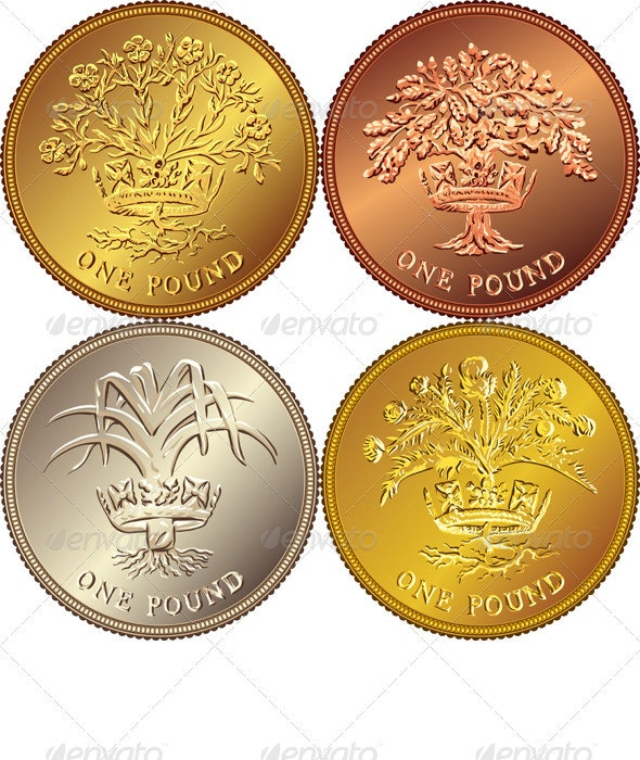 Vector Set British Money Gold Coin One