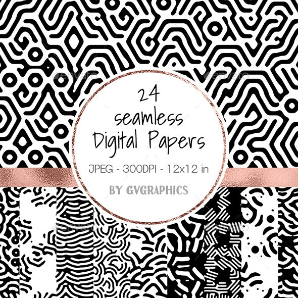 Black & White Seamless Digital Papers - Abstract Textures