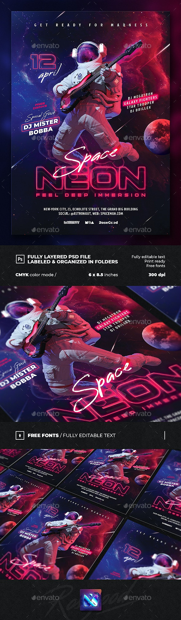 Party Flyer Neon Space - Events Flyers