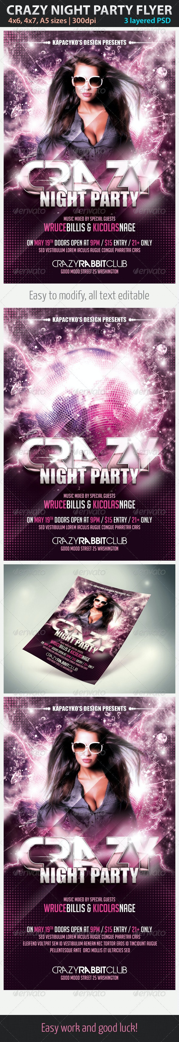 Crazy Night Party Flyer - Clubs & Parties Events