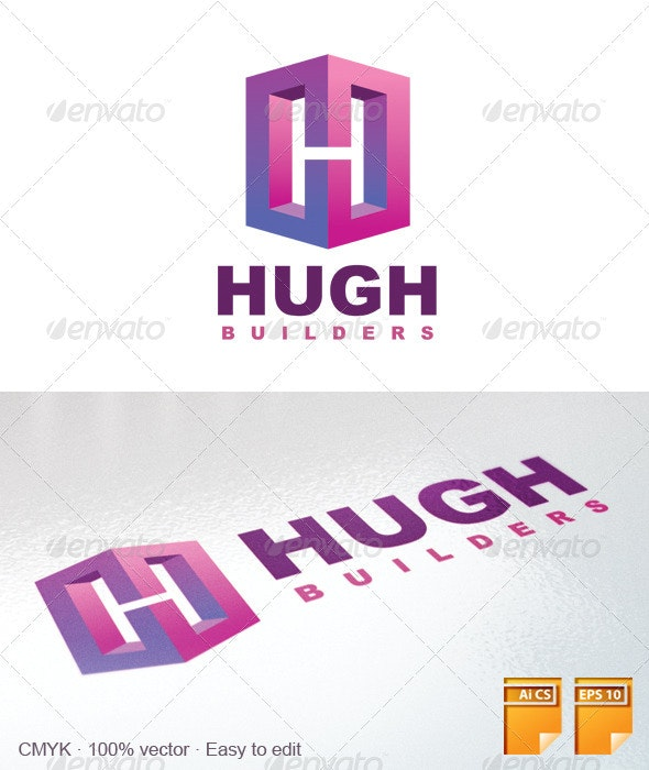 Hugh Builders Logo - Objects Logo Templates