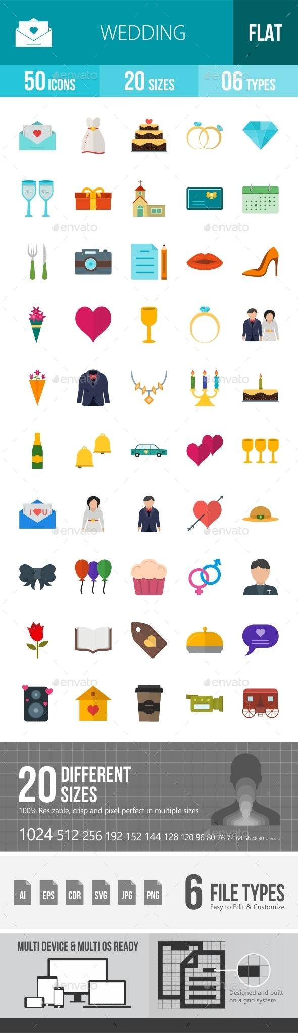 Wedding Flat Multicolor Icons Season II - Icons