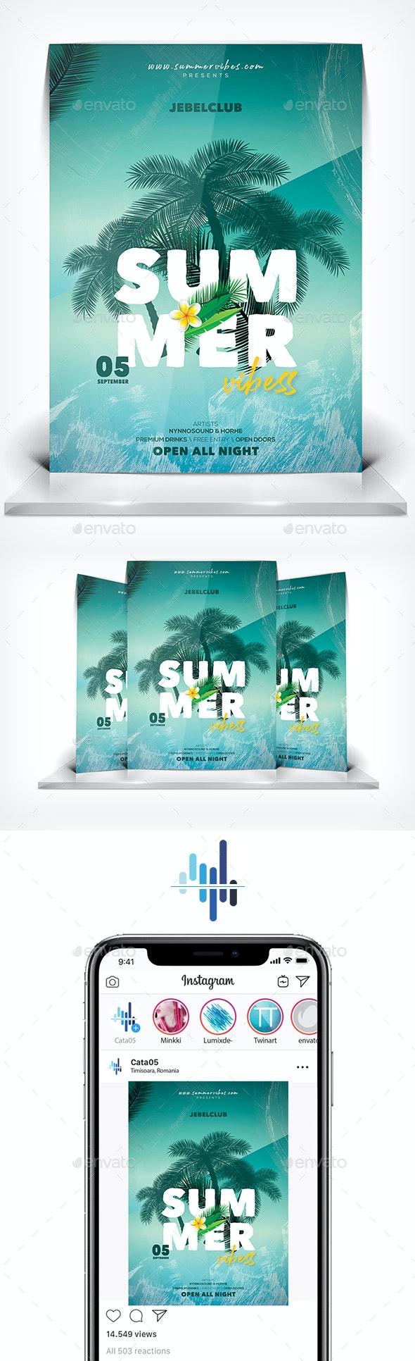 Summer Vibes Flyer - Flyers Print Templates