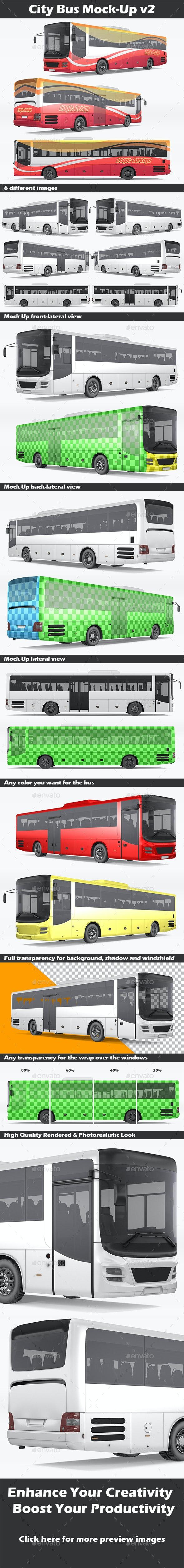 City Bus Mock-Up v2 - Vehicle Wraps Print