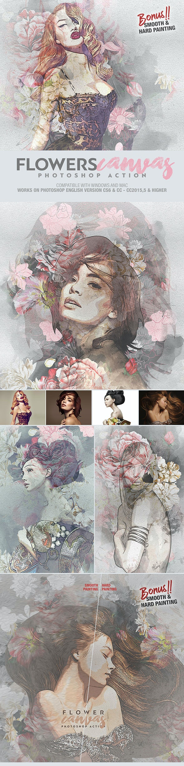 Flower Canvas Photoshop Action - Photo Effects Actions