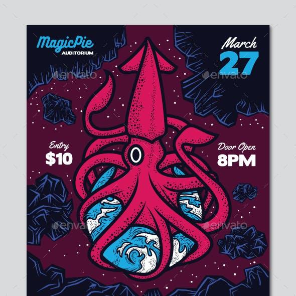 Space Squid Indie Rock Flyer