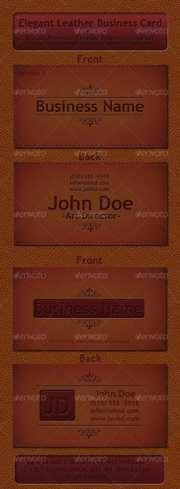 Elegant Leather Business Card - Retro/Vintage Business Cards