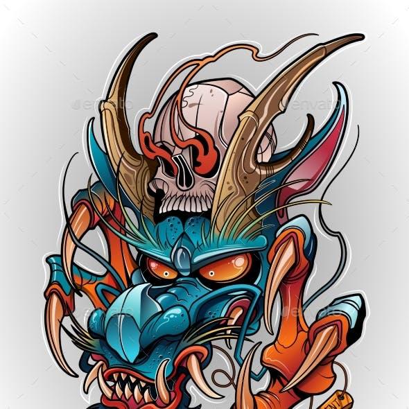 Japanese Dragon Demon with Human Skull Tattoo