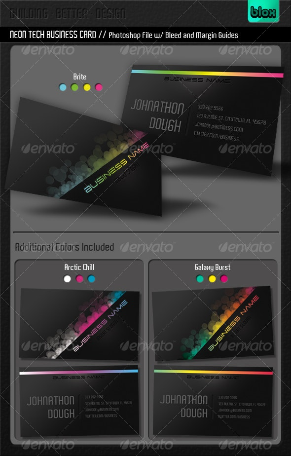 Neon Tech Business Card - Creative Business Cards