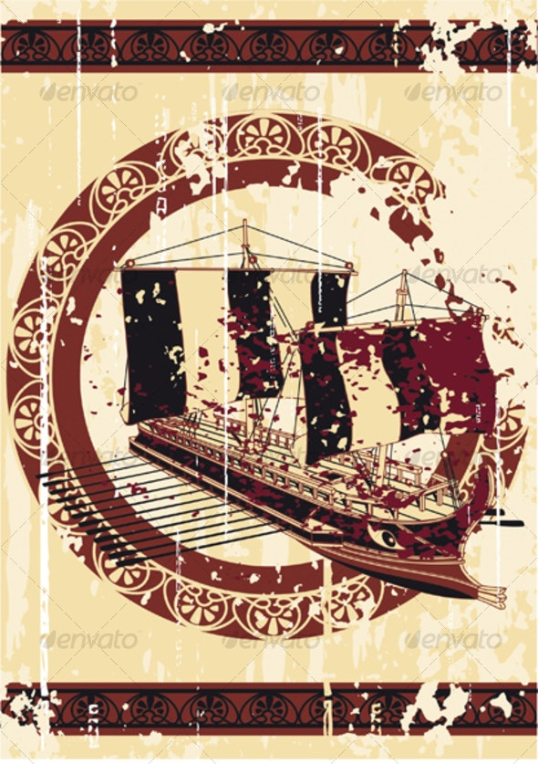 Bacground in greece style with ship - Backgrounds Decorative