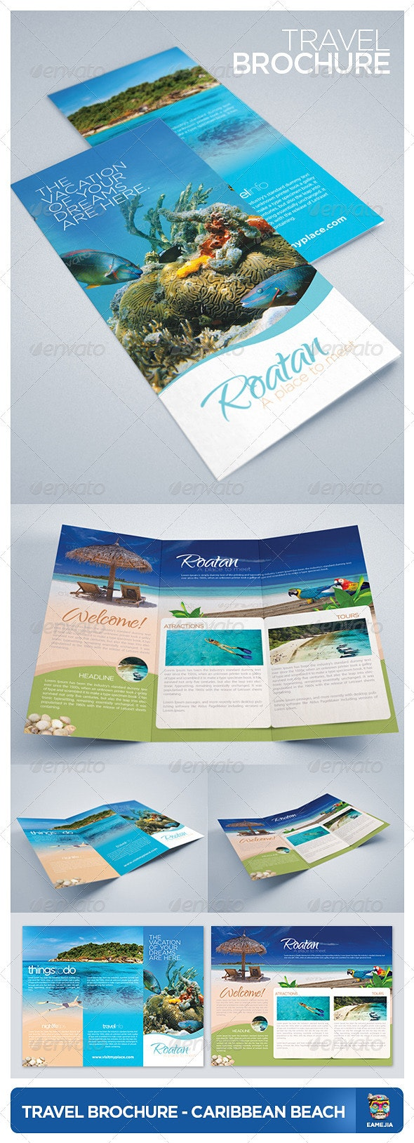 Travel and Tourism Brochure - Caribbean Beach - Brochures Print Templates