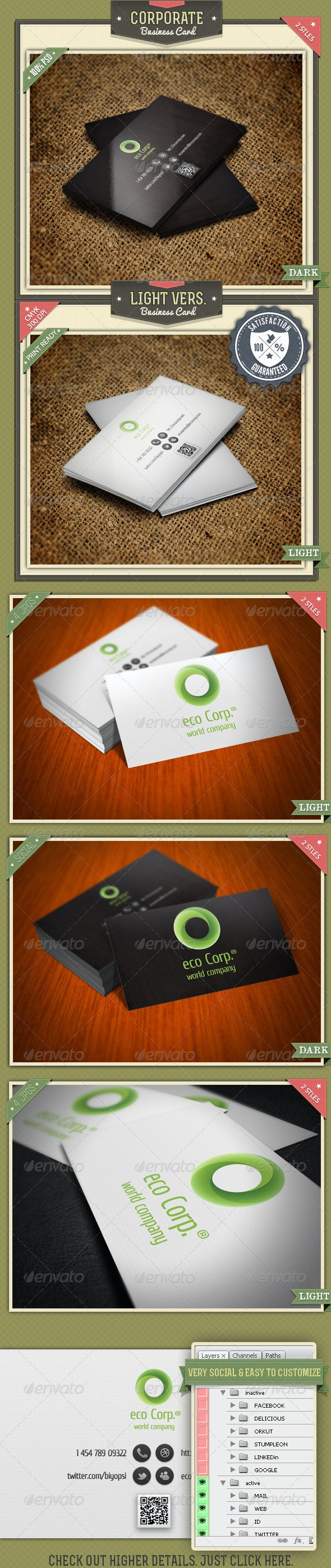 Corporate Business Card 2 Styles - Corporate Business Cards