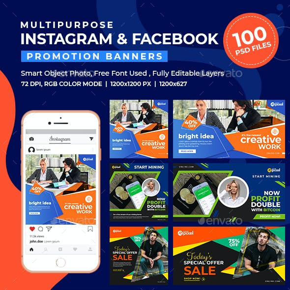 100-Instagram & Facebook Banners